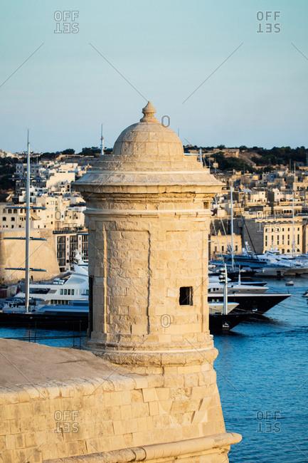 Great sunset of Senglea in Malta island,