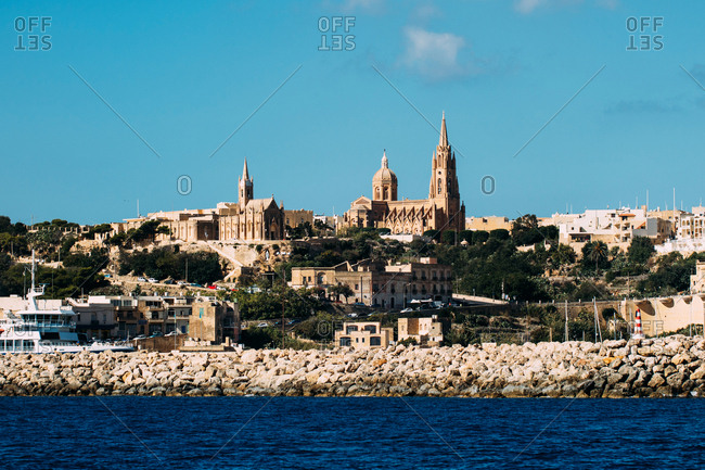 Landscape of Gozo island coast in Malta,