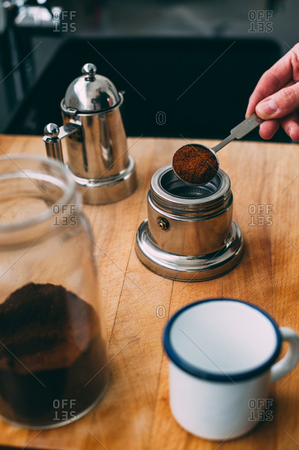 Preparing coffee