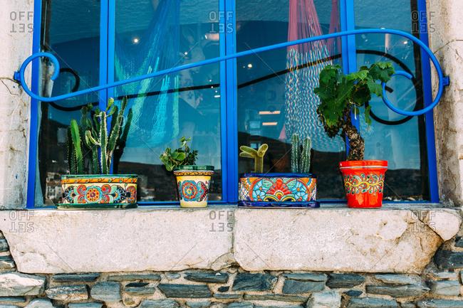 Rustic flower pots in Cadaques, Spain