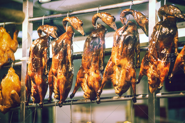 Tasty crunchy poultry street food in Hong Kong, Horizontal outdoors shot,