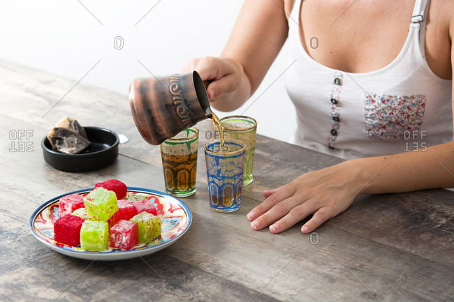 Woman preparing Turkish sweets