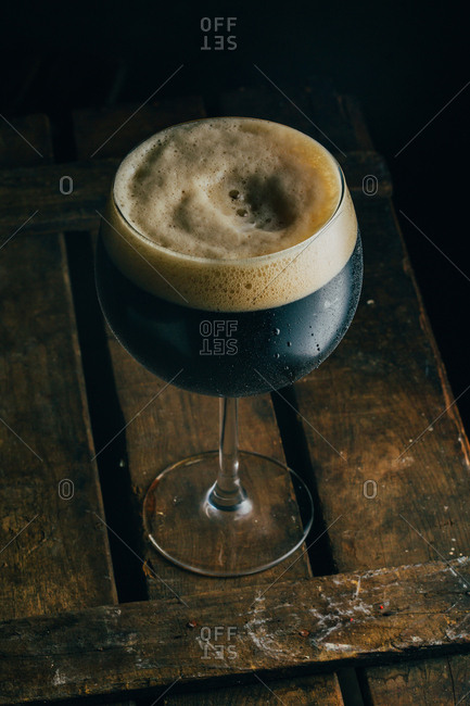 Dark beer in a nice glass