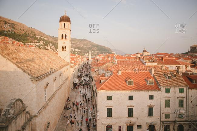 Dubrovnik, Croatia - February 4, 2017: Old town and the clock tower on Placa street in Dubrovnik, Croatia