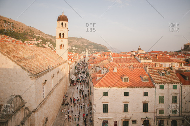 Dubrovnik, Croatia - February 4, 2017: Old town and the clock tower on Placa street in Dubrovnik, Croatia