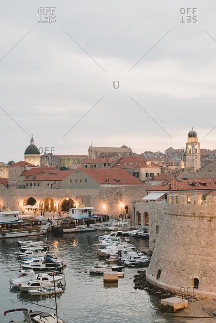 Dubrovnik, Croatia - February 4, 2017: Harbor in Dubrovnik, Croatia
