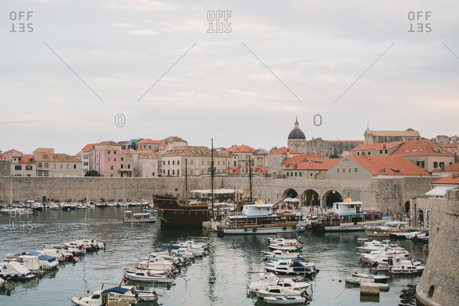 Dubrovnik, Croatia - February 4, 2017: Harbor filled with boats in Dubrovnik, Croatia