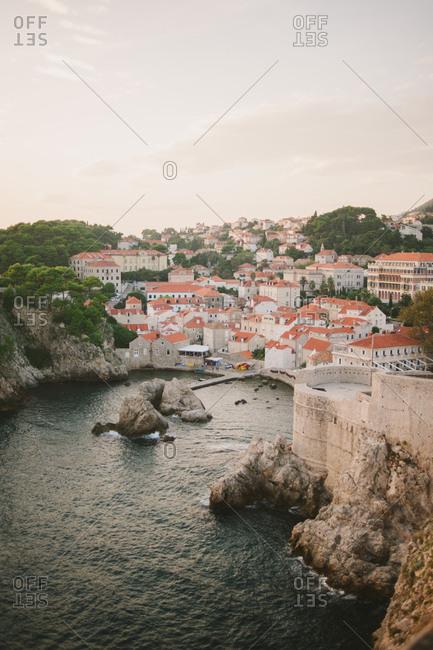 Bird's eye view of the harbor in Dubrovnik, Croatia