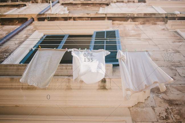 Low angle view of laundry hanging on a clothesline