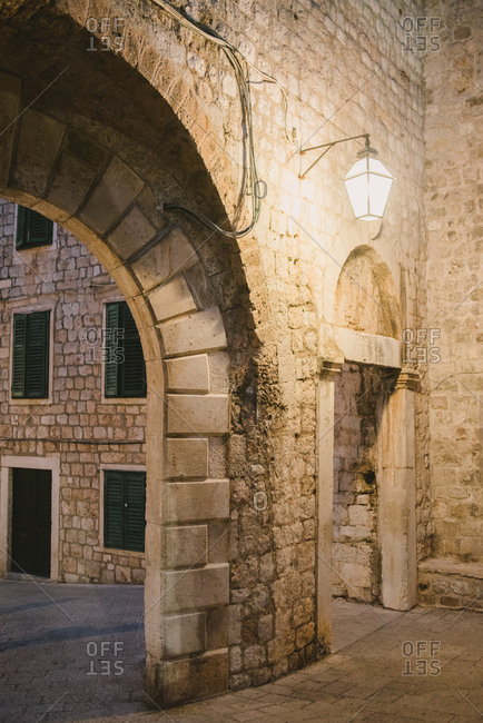Building with larch archway in old town Dubrovnik, Croatia