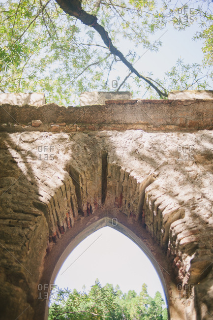 Low angle view of old palace archway in Sintra, Portugal