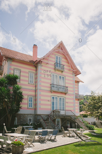 Pink striped building in Sintra, Portugal