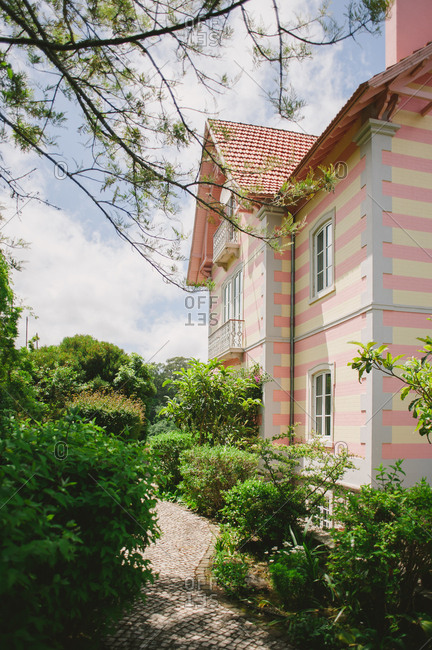 Exterior of a pink striped building in Sintra, Portugal