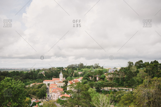 Bird's eye view of the town of Sintra, Portugal
