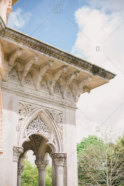 Exterior columns and roof of the Montserrat Palace in Sintra, Portugal