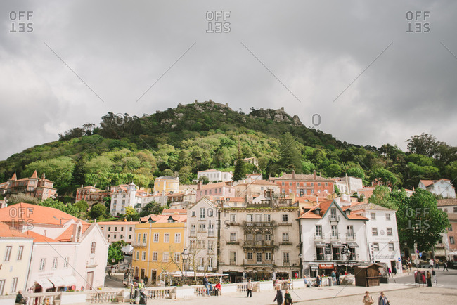 Sintra, Portugal - February 4, 2017: Buildings in the town of Sintra, Portugal