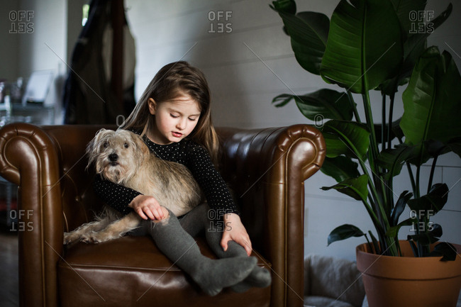 Little girl  holding dog in a brown chair