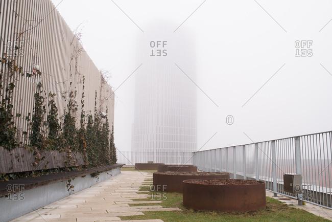 Dense fog covering buildings in Malmo, Sweden