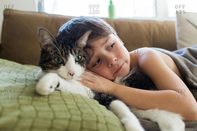 Boy cuddling with a fluffy cat on a sofa