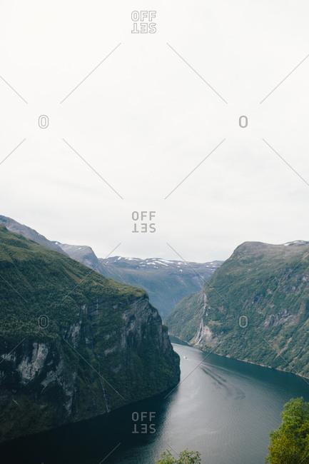 River along sheer cliffs