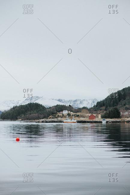 Boat near shore in remote setting