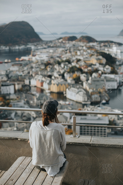 Person looking at Alesund, Norway