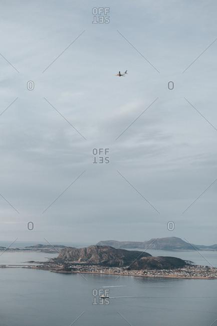 Plane over Norwegian island