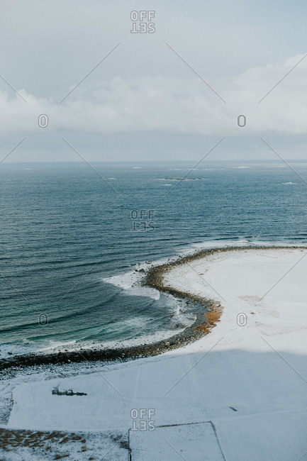Snowy coastline seen from above