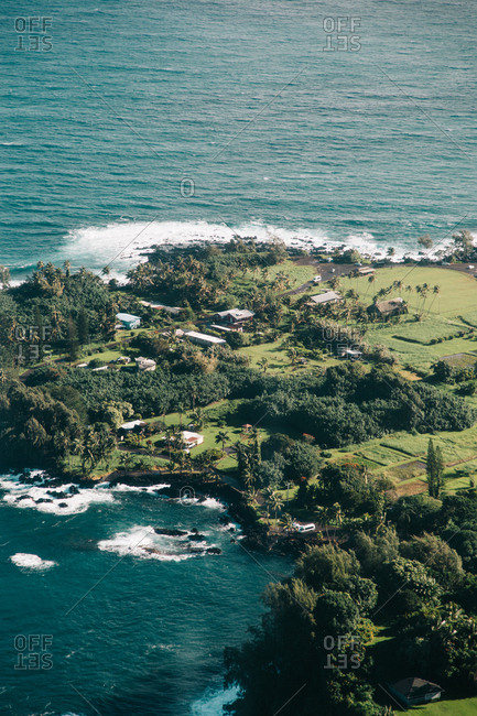 Buildings on peninsula in Hawaii