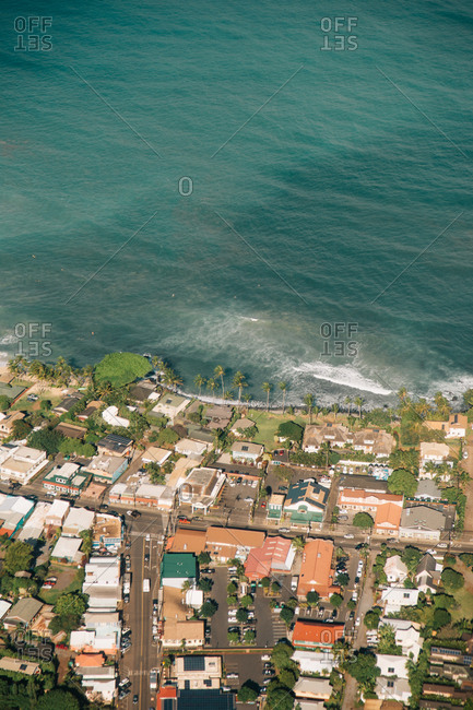 Town along shore in Hawaii