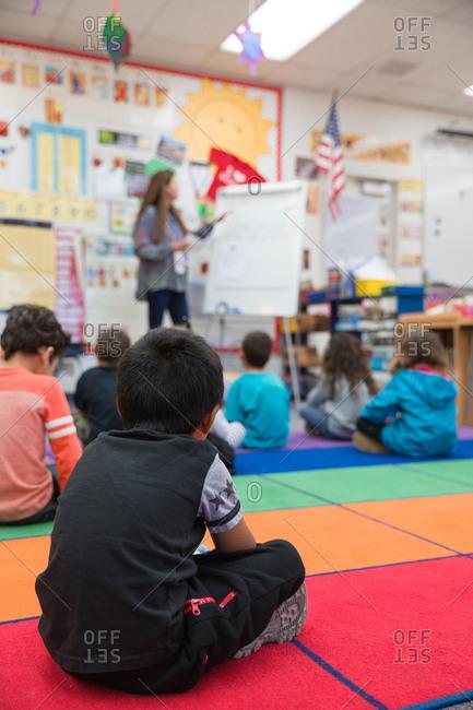 Kindergarten students in classroom.