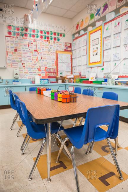 Empty kindergarten classroom.
