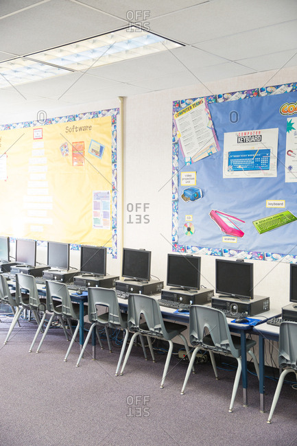 Del Obispo Elementary School in Dana Point, CA. - January 10, 2017: Empty elementary school classroom with computers.