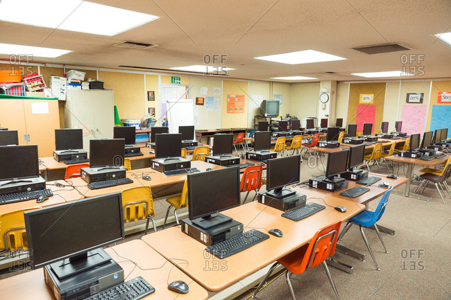 Del Obispo Elementary School in Dana Point, CA. - January 10, 2017: Empty classroom with computers.