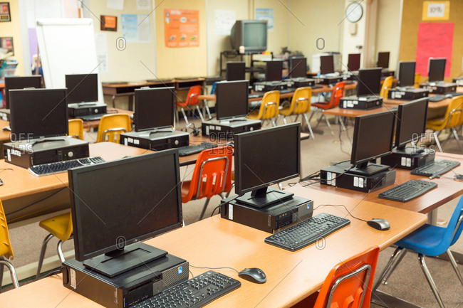 Del Obispo Elementary School in Dana Point, CA. - January 10, 2017: Empty classroom with computers.