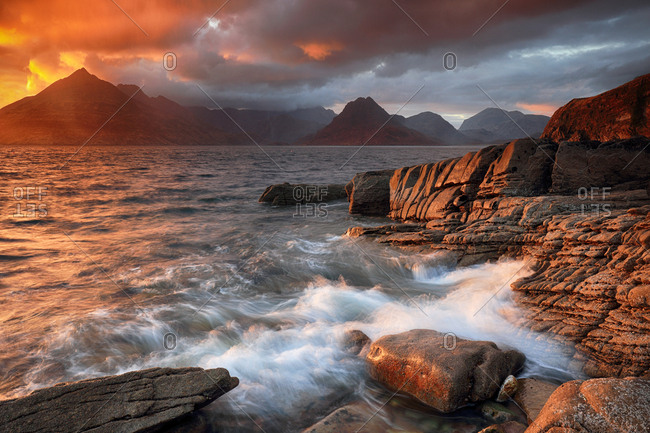 Sunset from the rocky shore of Elgol on the Isle of Skye.