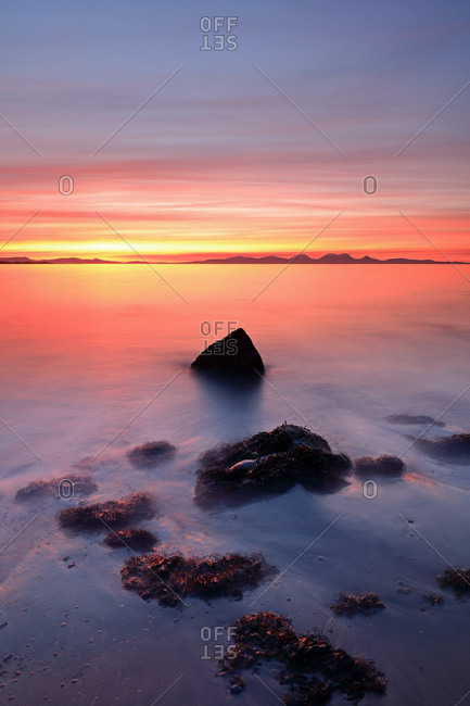 A beautiful and mesmerizing Sunset from the west coast of Kintyre with the island of Jura in the distance.
