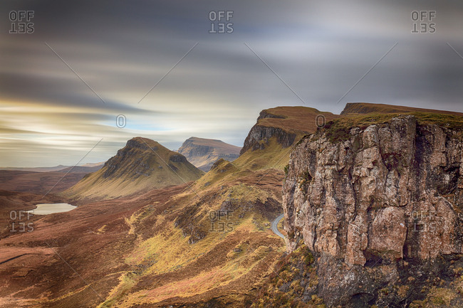 A long exposure from the Quiraing on the Isle of Skye during the morning.