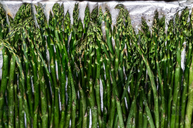 Roasted asparagus on tray
