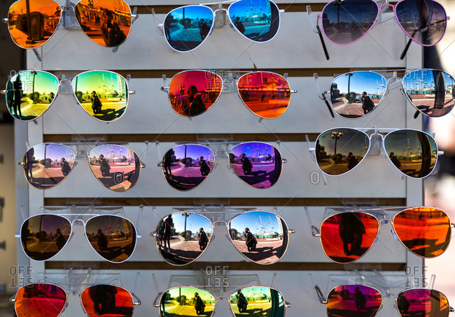 Sunglasses for sale at a kiosk