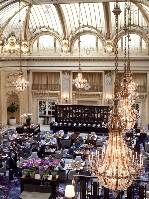October 5, 2015 - San Francisco, California: View of the Garden Court dining room at the Palace Hotel