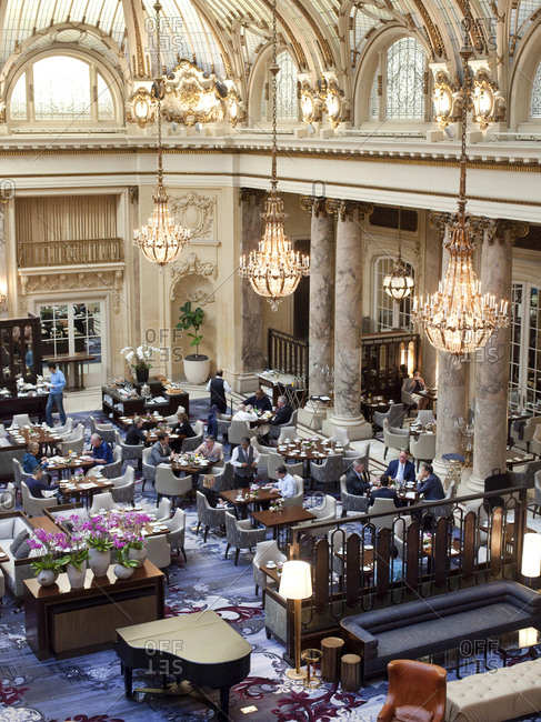 October 5, 2015 - San Francisco, California: People brunching in the Garden Court dining room at the Palace Hotel
