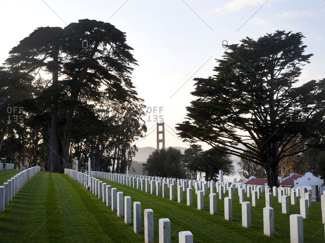 October 8, 2015 - San Francisco, California: Rows of headstones at the Presidio