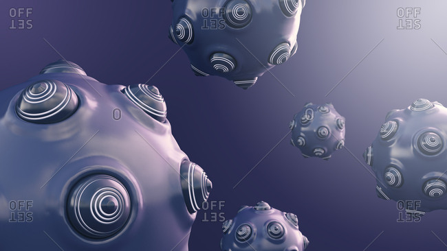Floating spherical objects with protrusions- 3d rendering