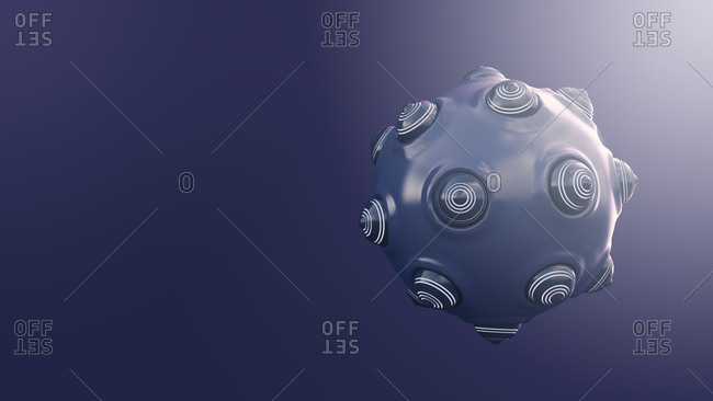 Spherical object with protrusions- 3d rendering