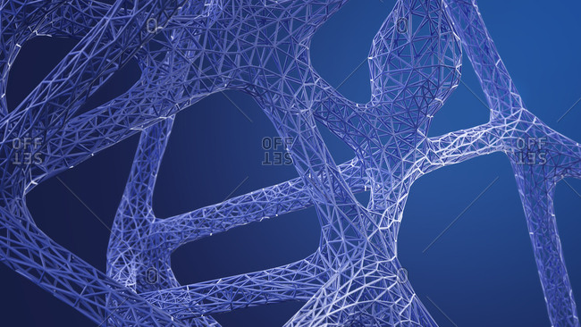 Abstract organic grid structure in blue- 3d rendering