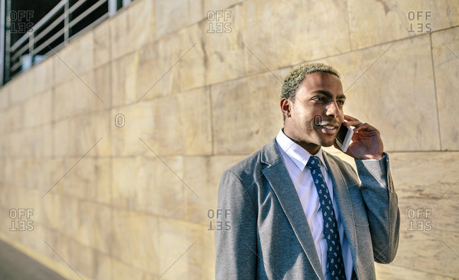 Businessman talking on his smart phone