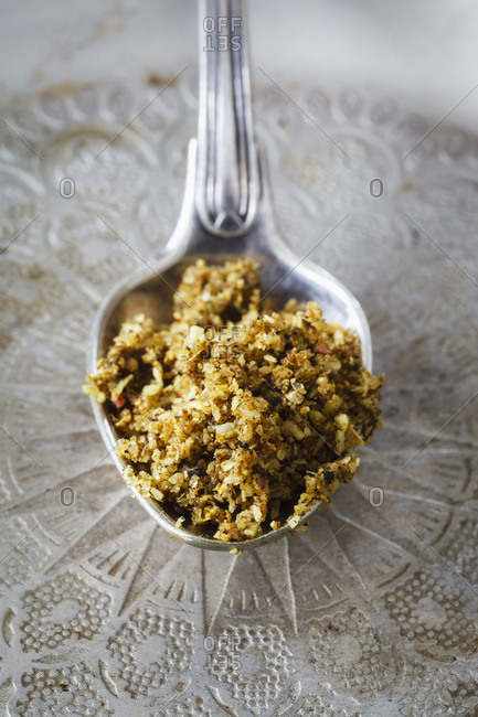 Spoon of Indian curry paste