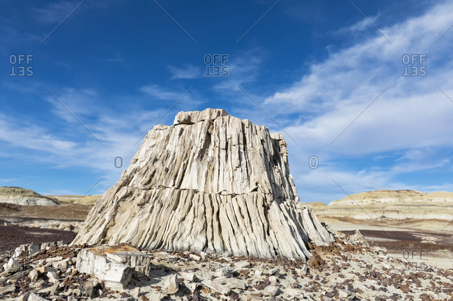 USA- New Mexico- Ah-shi-sle-pah Wash- rock formation- stone tree stump