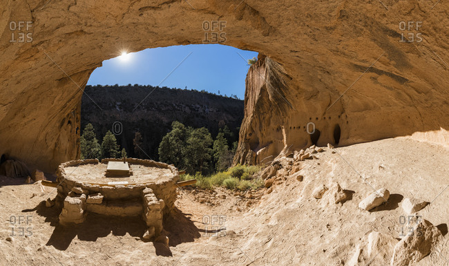 USA- New Mexico- Frijoles Canyon- Bandelier National Monument- Ruins and reconstructed kiva of the Ancestral Pueblo People- Alcove House